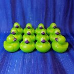 12 Halloween Colors Mini Neon Green Rubber Ducks