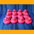 12 Pink Mini Neon Rubber Duck