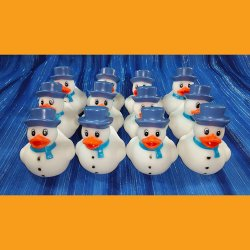 12 Snowman in Blue Rubber Ducks