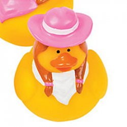 Pink Cowgirl with Pink Hat and White Bandanna Rubber Duck