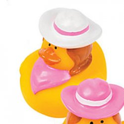 Pink Cowgirl with White Hat and Pink Bandanna Rubber Duck