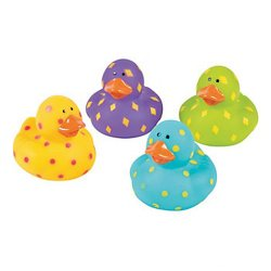 Brightly Speckled Pattern Rubber Ducks