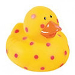 Brightly Speckled Rubber Duck - Yellow with Red Polka Dots