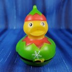 Green Christmas Snow Elf Rubber Duck