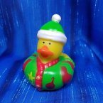 Christmas Elf Rubber Duck Green Stocking Cap and Sweater