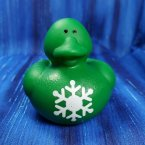 Green Snowflake Christmas Rubber Duck