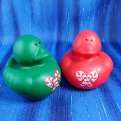 Red and Green Candy Cane Christmas Rubber Ducks