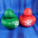 Red and Green Snowflake Christmas Rubber Ducks