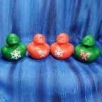 Red and Green Christmas Rubber Ducks