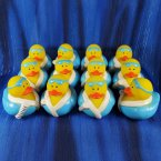 12 Spa Rubber Duck in Blue Robe, Newspaper, and Sleep Mask