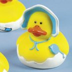 Baby Boy Rubber Duck with Bonnet and Rattle