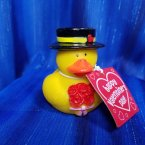 Valentine's Gentleman with Flowers and Card Rubber Duck