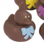 Chocolate* Easter Bunny Rubber Duck with Blue Bow