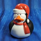 Penguin Rubber Duck with Red Scarf and Hat