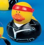 Biker Rubber Duck with Red Bandanna