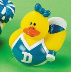 Blue & White Cheerleader Rubber Duck with Megaphone