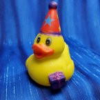 Birthday Party Rubber Duck in Red Hat with Gift