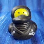 Ninja Rubber Duck with Stars in Black