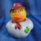 Scarecrow Rubber Duck in Light Blue and a Dark Red Hat