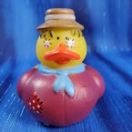 Scarecrow Rubber Duck in Dark Red and a Light Brown Hat
