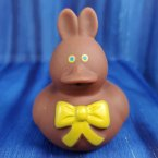 Milk Chocolate * Easter Bunny Rubber Duck with Yellow Bow