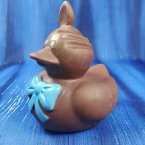 Chocolate * Easter Bunny Rubber Duck with Blue Bow
