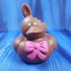 Chocolate* Easter Bunny Rubber Duck with Pink Bow