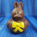 Chocolate* Easter Bunny Rubber Duck with Yellow Bow