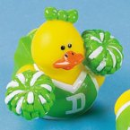 Green & White Cheerleader Rubber Duck with Pom Poms