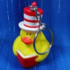 Duck in the Hat Reading Rubber Duck Keychain