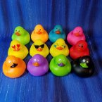 Fun Pack! 12 Mini Neon and Emoji Rubber Ducks