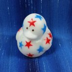 White Mini Patriotic Start Rubber Duck