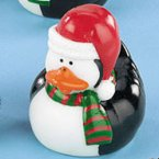 Penguin Rubber Duck with Red and Green Scarf