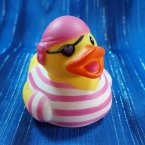 Girl Pirate Rubber Duck Pink Stripes and Eye Patch