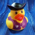 Captain Girl Pirate Rubber Duck Feather Cap Purple Heart Shirt
