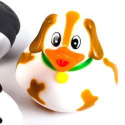 Hound Puppy Rubber Duck White with Brown Patches