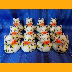 12 Zoo Animal White Cheetah Rubber Ducky