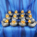12 Glitter Metallic Platinum Rubber Ducks