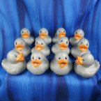 12 Glitter Metallic Silver Rubber Ducks