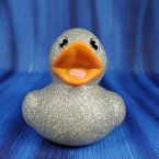 Glitter Metallic Silver Rubber Duck