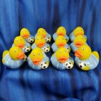 12 Soccer Futbol Rubber Ducks - White and Light Blue