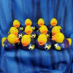 12 Soccer Futbol Rubber Ducks - Blue and Red