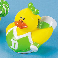 Green & White Cheerleader Rubber Duck with Megaphone